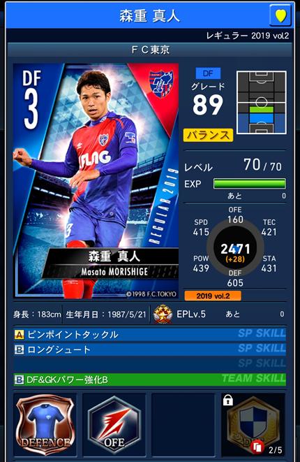 FC東京森重のステータス